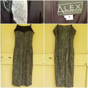 Alex Evenings Gold Dot Strapless Cocktail Dress